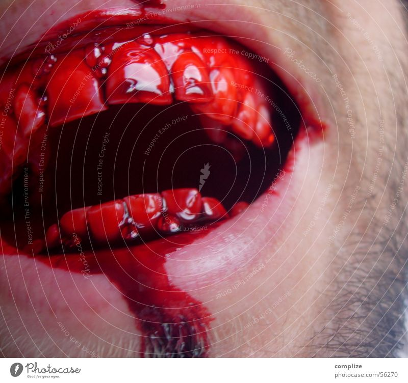 Man Adults Laughter Mouth Dangerous Teeth Force Facial hair Evil Section of image Obscure Blood Partially visible Respect Disgust Wound