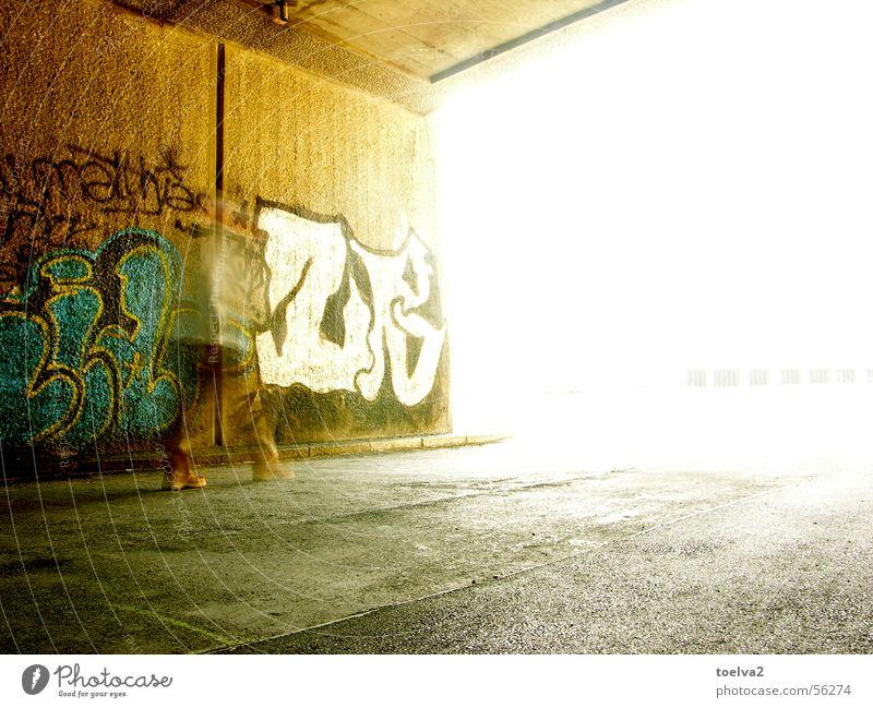 Man White City Colour Wall (building) Movement Wall (barrier) Footwear Graffiti Bright Brown Going Concrete Europe Bridge