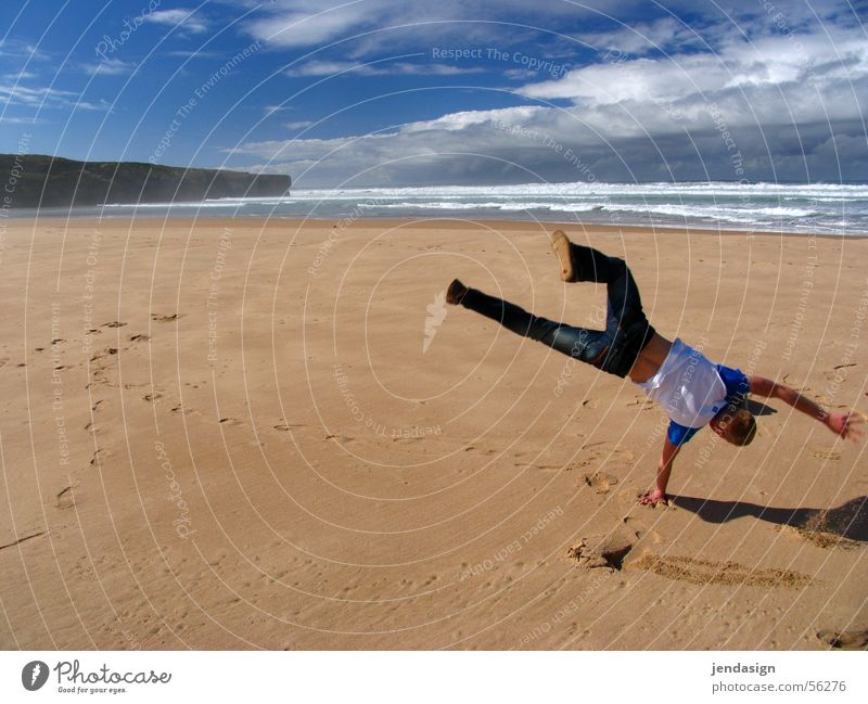 Ocean Summer Sports Freedom Happy Sand Waves Weather Happiness Leisure and hobbies Portugal Atlantic Ocean Exuberance Algarve