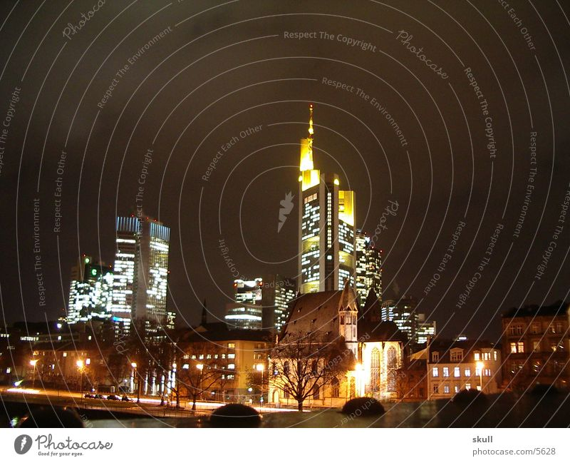 ffm by night Frankfurt Night Night shot Building Light High-rise Architecture Comerz Bank