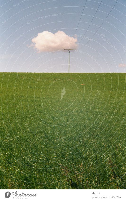 crest of cloud Clouds Electricity pylon Green Horizon Playing Beautiful weather Summer Minimal Calm Grass Electrical equipment Technology Sky Nature Landscape