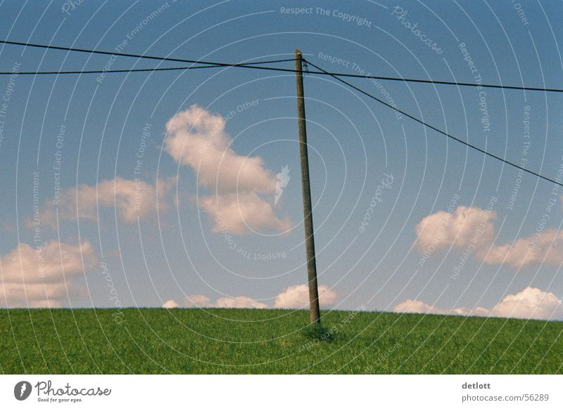 windmill Clouds Electricity pylon Green Cable Horizon Playing Beautiful weather Summer Minimal Calm Earth Sand Sky Nature Landscape Blue Far-off places Lawn