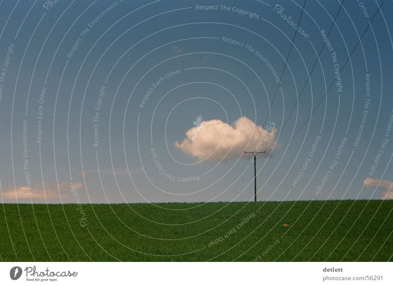 Cloud crest2 Clouds Electricity pylon Green Minimal Horizon Playing Beautiful weather Summer Calm Grass Meadow Panorama (View) Colour Communicate Sky Nature