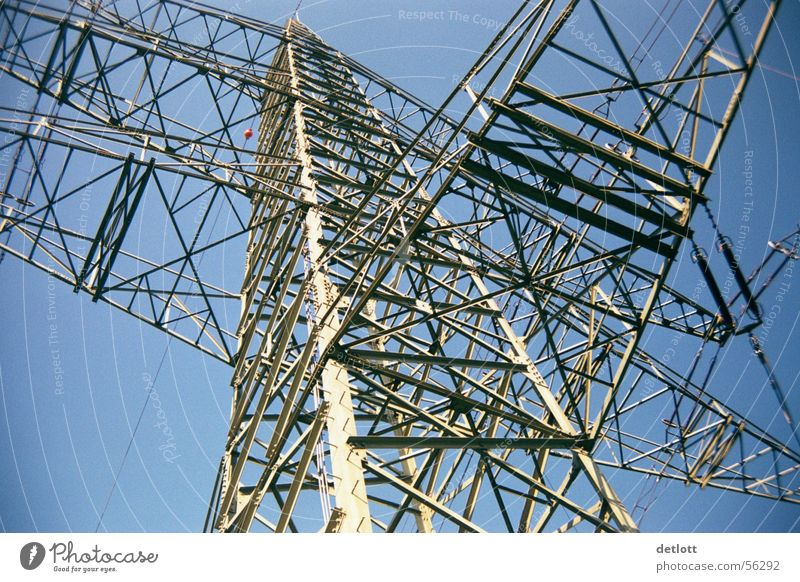 steel giant Electricity pylon Steel Colossus Extreme Services Electrical equipment Technology Aviation Sky Blue Perspective Structures and shapes Line Massive