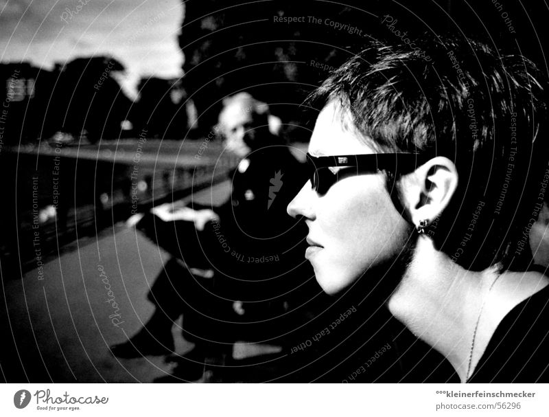 Woman Man Face Black Emotions Park Moody Art Perspective Esthetic Communicate Bench Newspaper Watchfulness Tension Sunglasses