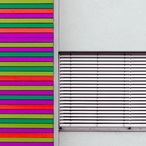 It's all a front. It's colorful. Wall (barrier) Wall (building) Facade Window Venetian blinds Concrete Line Exceptional Simple Hip & trendy Crazy Multicoloured