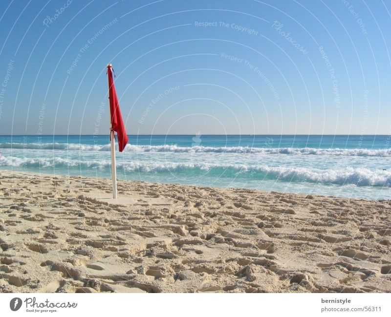 beach feeling Beach Summer Cancun Ocean Flag Beautiful weather Sand Mexico Water Clarity day recording
