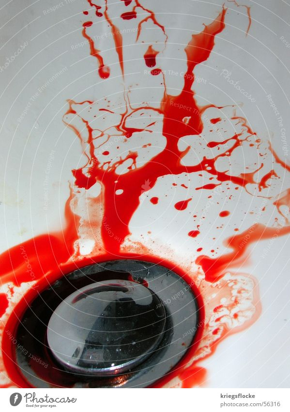White Red Colour Dirty Drops of water Fluid Blood Drainage Sink