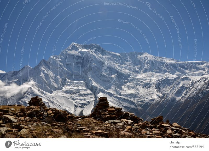Nepal II Vacation & Travel Adventure Mountain Hiking Nature Landscape Sky Sunlight Snow Rock Annapurna II Peak Snowcapped peak Glacier Cold Stone Colour photo