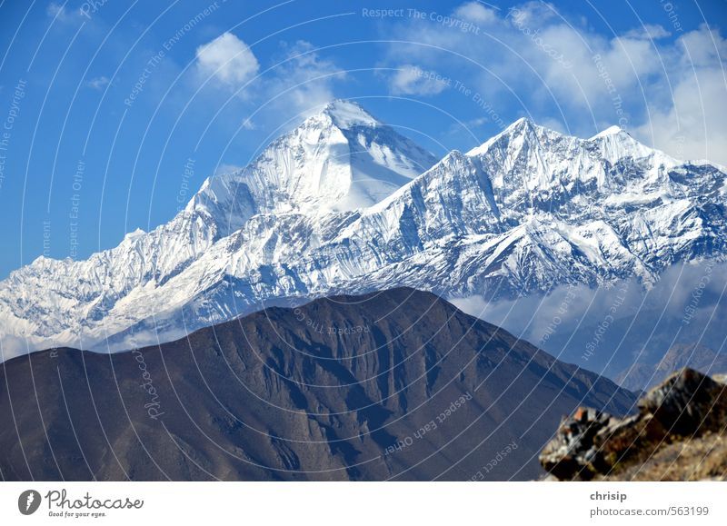 Nepal III Adventure Expedition Mountain Nature Landscape Sky Clouds Fog Snow Hill Rock Dhaulagiri Peak Snowcapped peak Glacier Cold Stone Colour photo