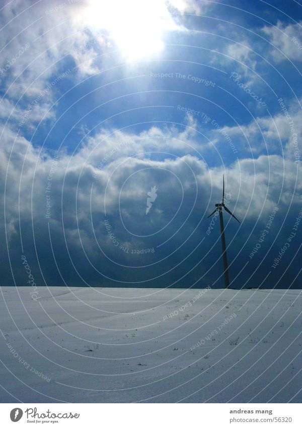 Sky Sun Winter Clouds Snow Landscape Field Wind Energy industry Electricity Wind energy plant