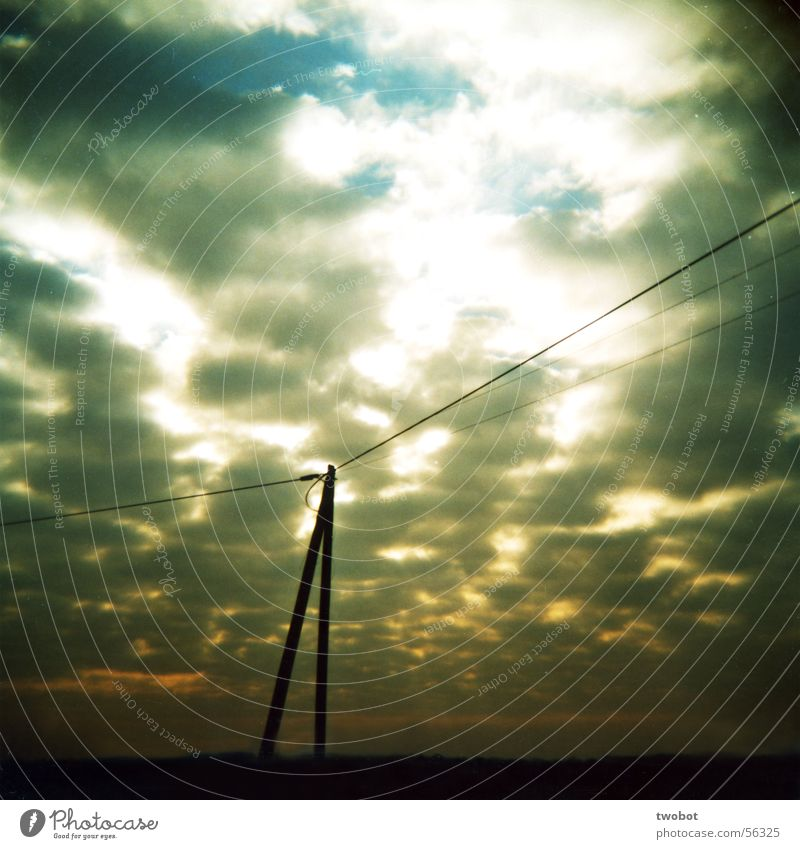 Light and shadow Clouds Rain Sunrise Sunset Apocalypse Friendliness Evil Lighting Electricity Power High-power current Electricity pylon White Gray Yellow Holga