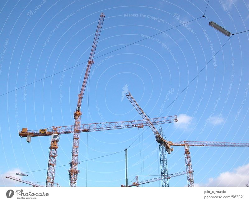 Sky Blue Clouds Work and employment Beautiful weather Construction site Crane