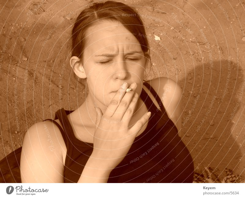 Woman Relaxation Smoking Cigarette Unhealthy
