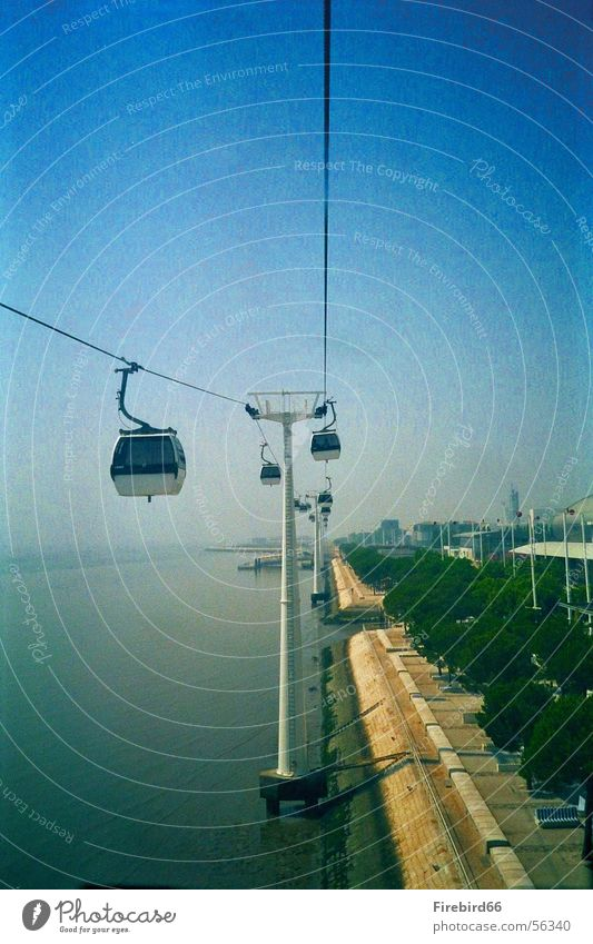 Cable car in Lisbon Portugal cable car. World exposition 98