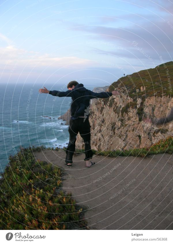 Man Ocean Wind Portugal Cliff Cape