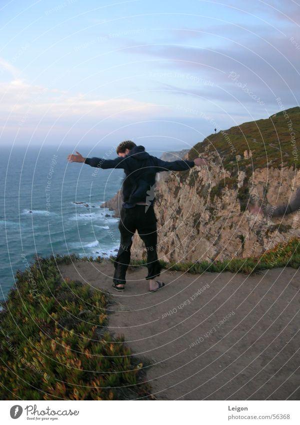 Man Ocean Wind Portugal Cliff Cape