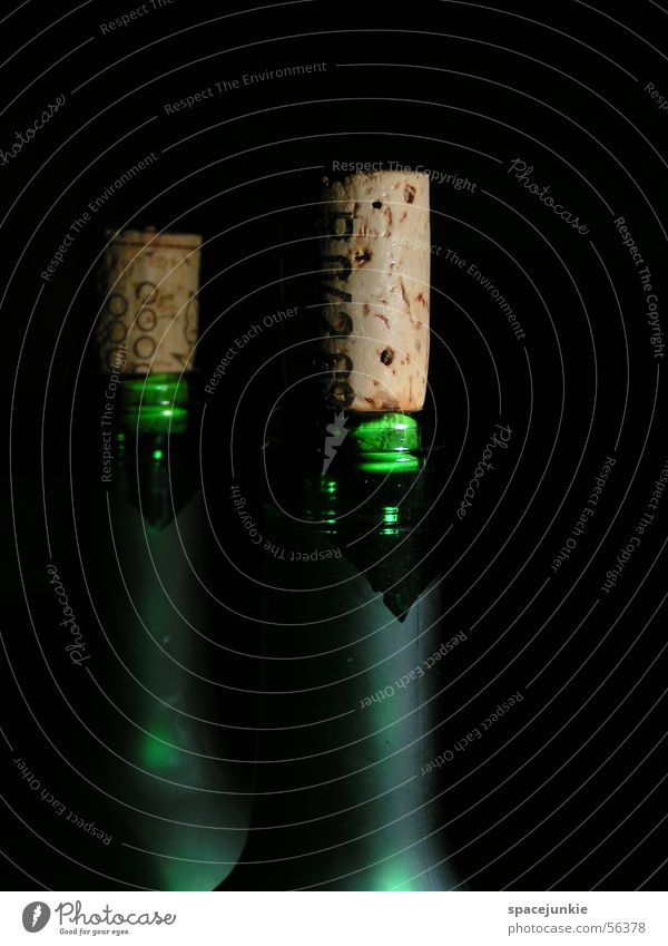 Green Dark Wine Bottle Bottle of wine Neck of a bottle Cork