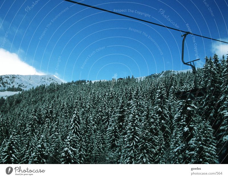 liftblick01 Winter Mountain Alps Nature Chair lift Skilift chair Mountain forest Winter forest Coniferous forest Ski resort Blue sky Copy Space top Empty
