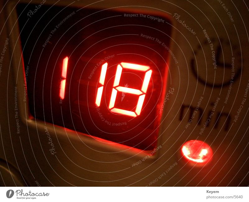118 minutes? Clock Digits and numbers Red Microwave Kitchen Electrical equipment Technology Digital photography Time