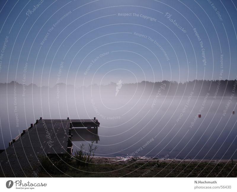 Dark Lake Moody Fog Footbridge Night shot Full  moon