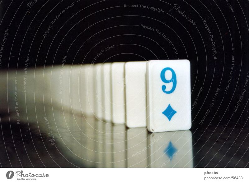 Nine Domino Dominos 9 Reflection Black White Digits and numbers Rectangle Contrast Blue Floor covering