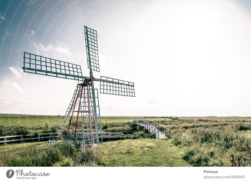 Wind mill Industry Technology Culture Environment Nature Landscape Sky Clouds Autumn Grass Park Meadow Building Architecture Old Historic Retro Blue Green