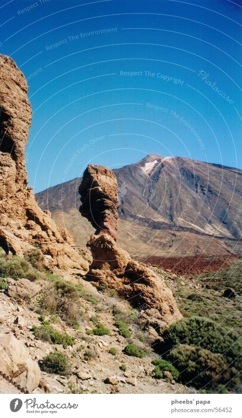 lunar landscape Tenerife Brown Green Bushes Sky Volcano Blue Mountain Floor covering