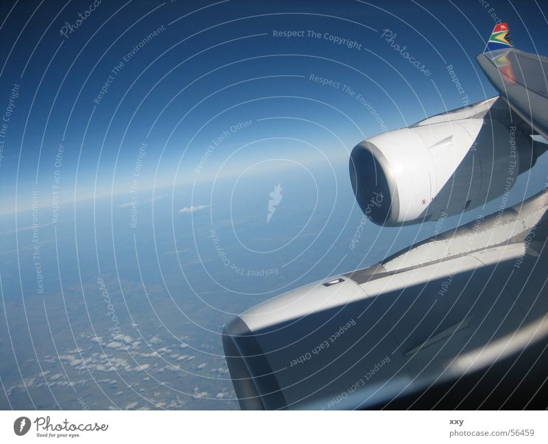 take a plane Airplane Progress Horizon Bird's-eye view Crash Engines Blue South Africa Flying Vantage point Earth Sky jets Universe earth curvature