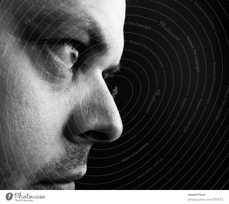 black-white view Portrait photograph Silhouette Black White Facial hair Face Looking Eyes Nose Mouth Profile Skin