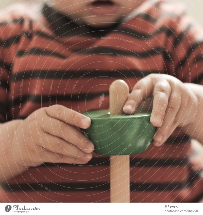 learning by doing Beautiful Playing Child Study Baby Toddler Infancy Mouth Hand Fingers 1 Human being Toys Wood Stripe String Discover Sweet Childhood memory