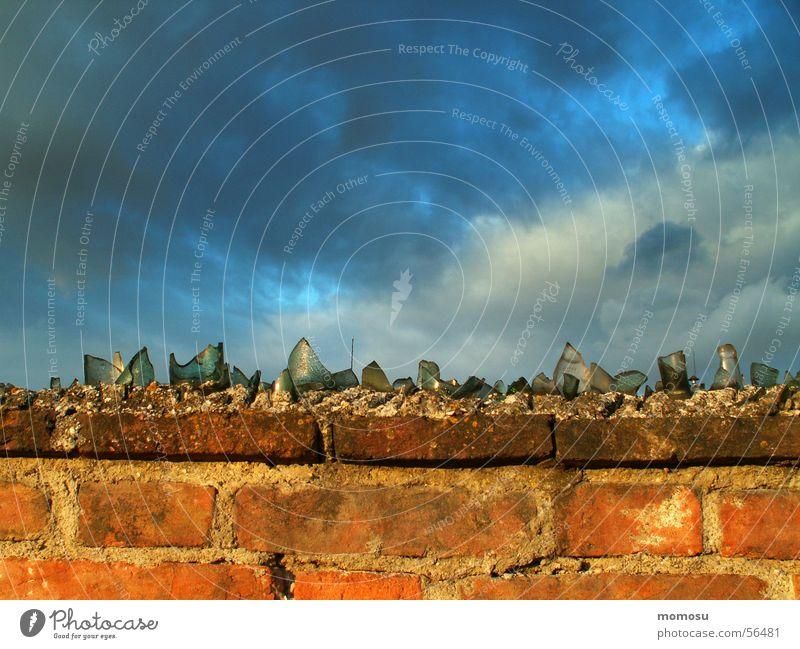 borderline experience Wall (barrier) Brick Shard Clouds Glass Sky