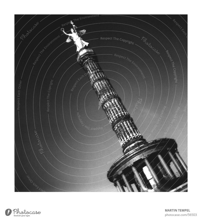 Berlin Architecture Places Success Angel Manmade structures Statue Landmark Column Downtown Black & white photo Value Gedächtnis Kirche