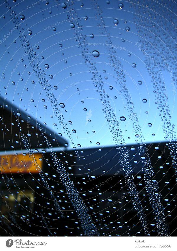 filling station idyll Moody Store premises Oxygen Drops of water Window Wax Sky Blue Water Rain Window pane Railroad Bubble Multiple Classifying Clarity Freedom