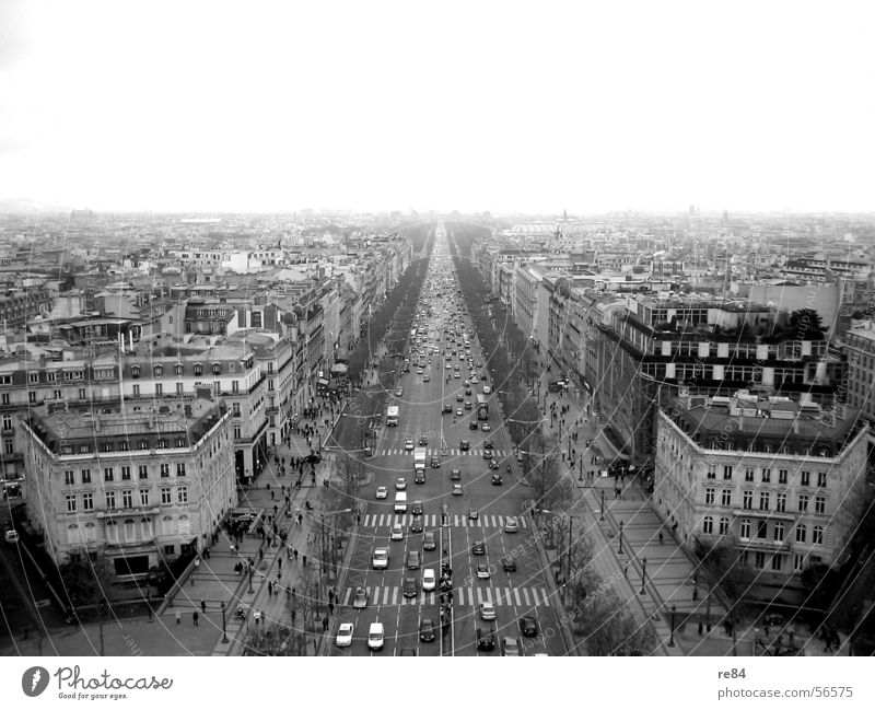 The world stands still - Paris without curves Main street France Traffic jam Chaos Transport Town Boutique Luxury Flea Black White Gray Horizon Horizontal