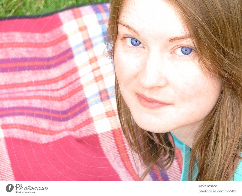 Woman Blue Face Eyes Feminine Grass Hair and hairstyles Mouth Blanket Checkered Overexposure