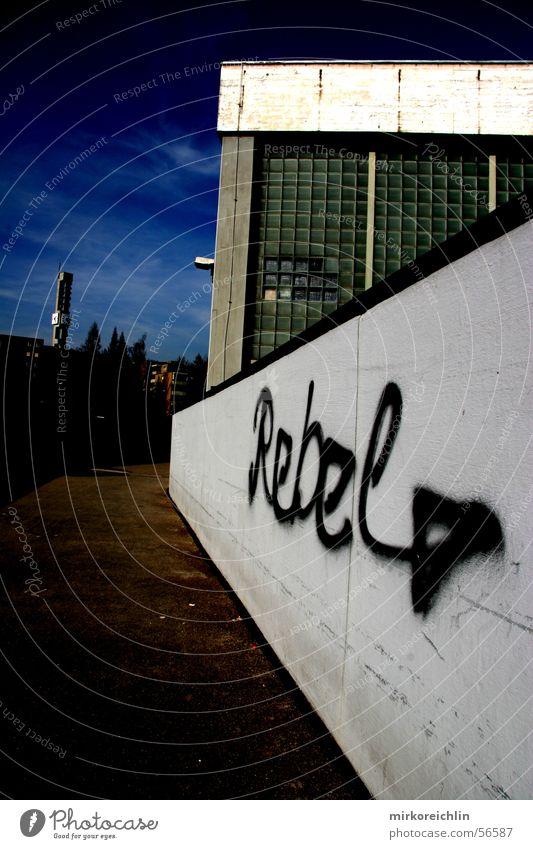 REBEL Black Large Small Dark Revolt Exterior shot Rüti Switzerland rebel Graffiti background Lanes & trails Blue sky