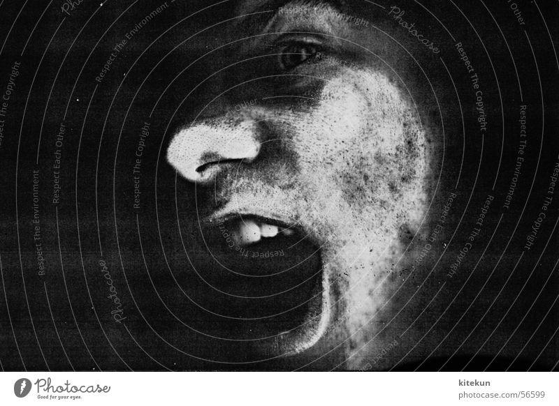White Black Dark Window Gray Fear Funny Nose Teeth Scream Creepy Captured Amazed Photocopier