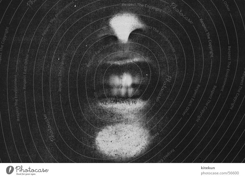 White Black Dark Window Gray Fear Funny Nose Teeth Scream Creepy Captured Amazed Photocopier