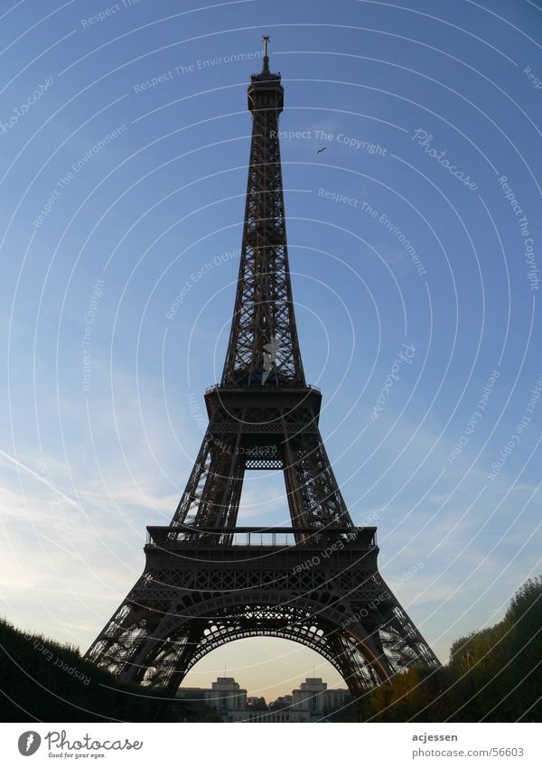 Je t'aime Eiffel Tower Paris France Twilight Transmitting station Sky