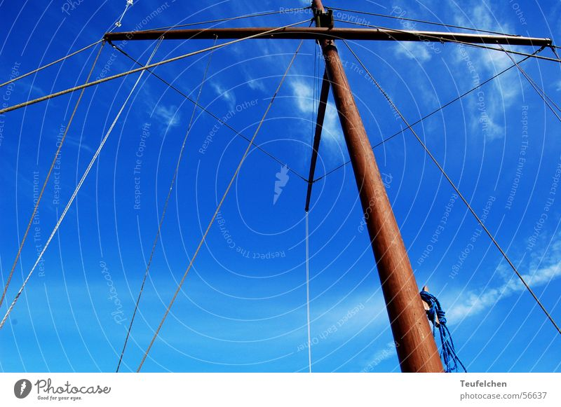 high up Watercraft Winter Ringkøbingfjord Wood Electricity pylon Sail Harbour Denmark Sky Blue Sun Rope