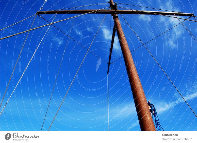 high up Watercraft Winter Ringkøbingfjord Wood Electricity pylon Sail Harbour Denmark Sky Blue Sun Rope
