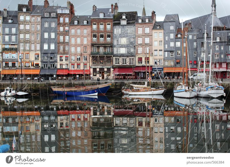 Mirroring in the harbour Vacation & Travel Ocean Sailing Gastronomy Architecture Fishing village Harbour Navigation Sailboat Yacht harbour Historic Gray Calm
