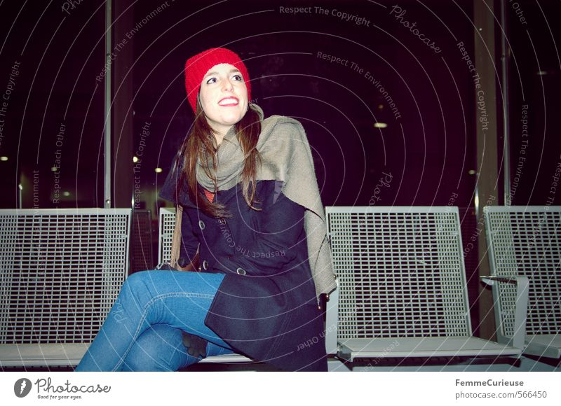 Vacation & Travel City Joy Winter Cold Sit Transport Wait Smiling Railroad Bench Thin Cap Freeze Attractive Train station