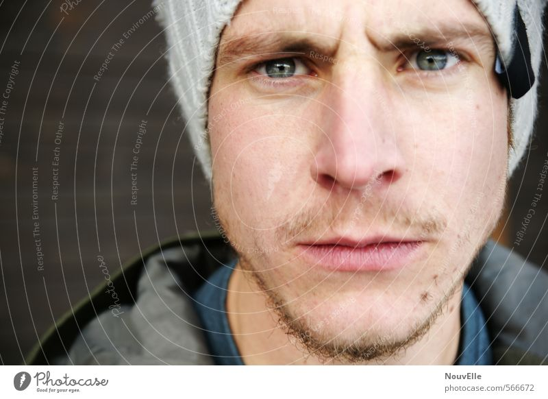 Human being Youth (Young adults) Man 18 - 30 years Young man Face Adults Life Emotions Fashion Masculine Authentic Dangerous Facial hair Anger Cap