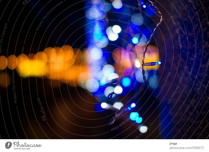 Blue City Christmas & Advent White Colour Black Yellow Cold Warmth Wall (building) Wall (barrier) Bright Gold Glittering Illuminate Design