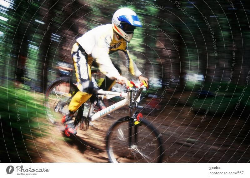 mtbiker01 Mountain bike Bicycle Forest Speed Blur Extreme sports race downhill