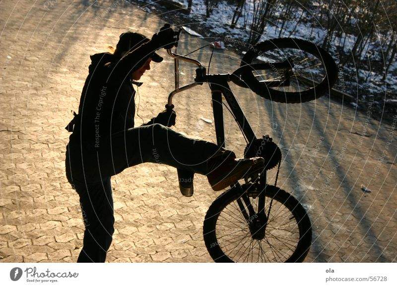 Woman Winter Jump Park BMX bike