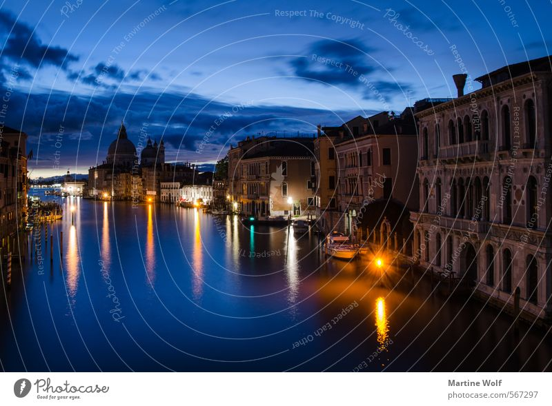 blue Venice Italy Europe Village Town Deserted House (Residential Structure) Vacation & Travel Academia Bridge Canal Grande Wake up Twilight Colour photo