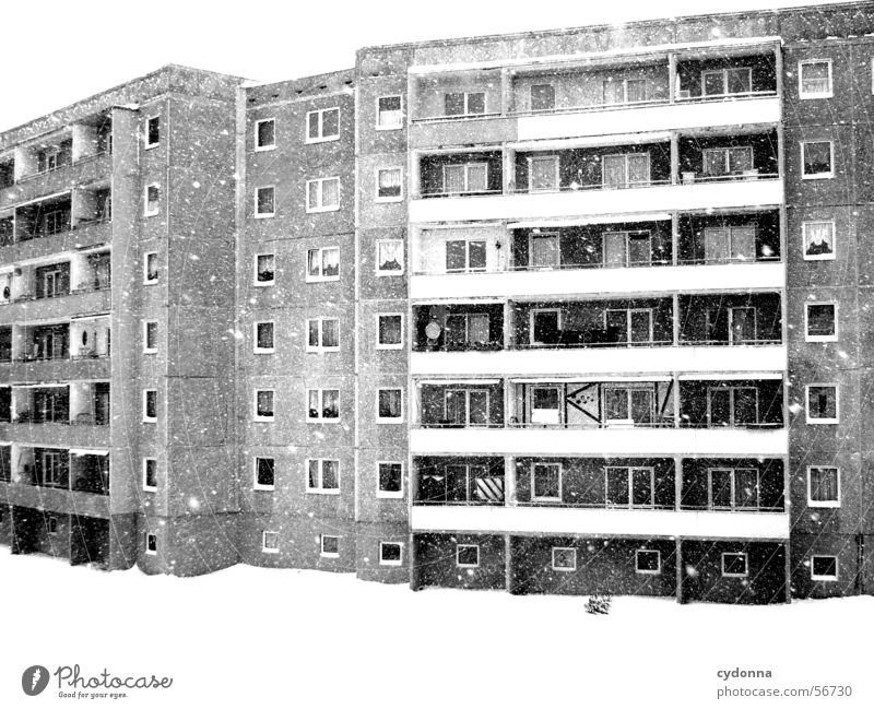 Winter House (Residential Structure) Loneliness Life Snowfall Sadness Together Flat (apartment) Weather Retro Gloomy Living or residing Uniqueness Balcony GDR Block